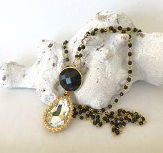 Ketten lang - lange Kette, ballchain, schwarz/gold - ein Designerstück von moanda bei DaWanda