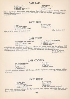 Vintage Cookies Recipes From 1940 - Date bars Date sticks, Date cookies, Date rocks. Date Recipes, Old Recipes, Cookbook Recipes, Baking Recipes, Sweet Recipes, Xmas Recipes, Date Cookies, No Bake Cookies, Yummy Cookies