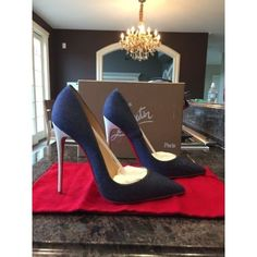 Pre-owned Christian Louboutin So Kate Denim Blue White Stiletto Pump (€830) ❤ liked on Polyvore