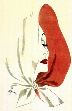 Illustration by René Gruau, 1945, Elizabeth Arden, Place Vendôme, Paris.