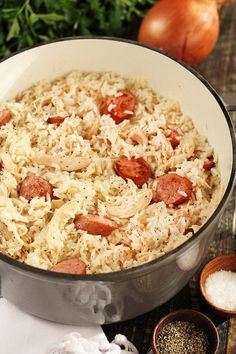 Chicken Bog, Chicken Perlo, Chicken Pilau - regardless of what you call it, I just call it delicious. This rustic dish of chicken, sausage, and rice is a family favorite recipe! Meal Recipes, Rice Recipes, Chicken Recipes, Cooking Recipes, Chicken Bog, Chicken Sausage, Southern Dishes, Southern Recipes, Chicken And Dumplins
