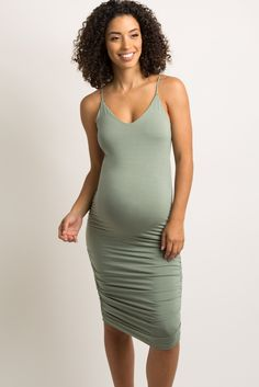 b1c159e8643 Mint Green Solid Fitted Cami Midi Dress A form-fitting