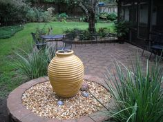 Water feature, brick paver patio