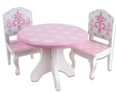 18 Inch Doll Table & Chairs Set, Fits American Girl Dolls and More, Pink and White Hand Painted Doll Table and Two Doll Chairs Set Sophia's http://www.amazon.com/dp/B0064RJRDO/ref=cm_sw_r_pi_dp_c244tb0P8JDRM