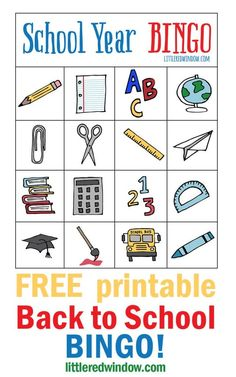 This fun and free Back to School Bingo printable is a great game to start the year and for classroom parties at any time of the school year, kids love it! The New School, Beginning Of School, New School Year, Back To School Party, Back To School Crafts, Preschool Printables, Free Printables, Bingo Set, Bingo Cards
