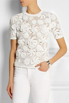 This beautiful lace crochet top from Sibling is on sale as we speak... with the markdown it's $672, which is about the minimum I'd want to be paid for doing that much stitching.