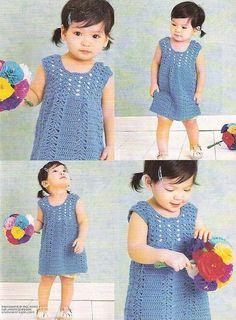 Blue Baby Dress free crochet graph pattern - lots of patterns Beau Crochet, Mode Crochet, Baby Girl Crochet, Crochet For Kids, Knit Crochet, Toddler Dress, Baby Dress, Dress Girl, Knitting Patterns