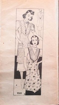 1930s pinafore apron Marian Martin 9585 mail order vintage sewing pattern Size Medium 40s retro housewife glamour by 101VintagePatterns on Etsy