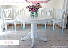 A Bubbly Life: How to Paint a Dining Room Table & Chairs! Makeover Reveal!-- @Lorrie Cerny  maybe this is what I should do with the kitchen table and chairs? Dip the legs into a bright color (either teal or coral) and do the same with the table legs? Ideally I'd prob paint it all a super lacquered grey first but it prob wouldn't look right with a DIY for that