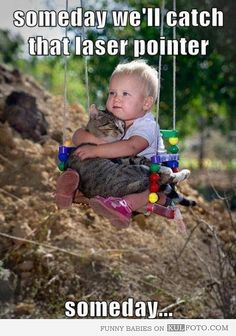 "Someday... - Funny baby sitting on a swing hugging a cat looking very cute: ""Someday we'll catch that laser pointer..."""