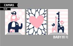 Nursery canvas art prints Blush Pink Navy Grey by babyartprints Nursery Twins, Nursery Decor Boy, Elephant Nursery, Baby Room Art, Baby Art, Baby Rooms, Nursery Canvas Art, Canvas Art Prints, Grey And Navy Nursery