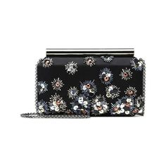 Oscar de la Renta Black Embroidered Satin Saya Minaudire ($895) ❤ liked on Polyvore featuring bags, handbags, clutches, red, red clutches, chain strap purse, red handbags, metallic handbags and beaded clutches