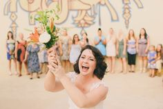 happy bouquet toss! // photo by Twin Hearts Photography  // View more: http://ruffledblog.com/handmade-athens-wedding/