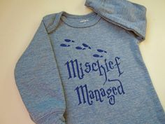 Harry Potter Outfit, Mischief Managed Outfit, Embroidered Onesie, Harry Potter Bodysuit, Baby Harry Potter Onesie, Harry Potter Baby Outfit by SewFlurry on Etsy