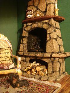 DIY dollhouse fireplace ~ balsa wood or cardboard plus egg carton finish