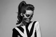 """Unlike famed model Rick Genest, whose face and body is actually tattooed to look like a skeleton (earning him the title of """"Zombie Boy""""), model Clémentine Levy's skeletal look is the creative result of expert make up artist Mademoiselle Mu and fashion photographer Pauline Darley."""