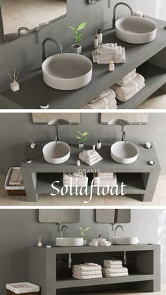 """""""FLOAT"""" is the name of the new Ideavit washbasin made of Solid Surface material. It is the result of an idea that aims to simplicity and elegance, The round shape of the basin is characterized by a soft slope which ends on a sharp edge.The eccentric position of the drain hole with the circular valve, together with the purely circular shape of the washbasin creates a harmonious asymmetrical geometry. The base of the basin rests on a small step, so that the object gives the impression of…"""