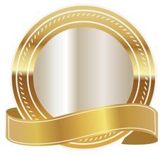 Gold Seal with Gold Ribbon PNG Clipart Image
