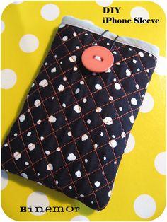 Binemor: DIY - iPhone Sleeve  Jeg er så vild med dette iPhone Sleeve. Binemor har lavet det dejlig nemt og overskueligt.