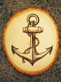 Art by Jacob Henley    http://www.etsy.com/listing/93753851/ship-anchor-wood-burning