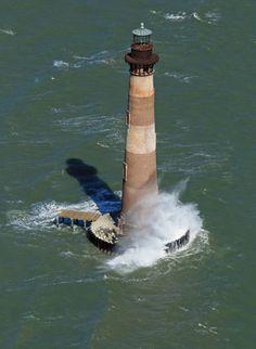 Unusual perspective of the now abandoned Morris Island #Lighthouse between Charleston and Folly Beach, #SC. http://www.follysurfcam.com/follybeach/history/morrisisland.html