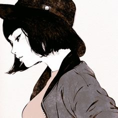 Tumblr: kuvshinov-ilya:  Black Hat   https://www.patreon.com/posts/3633759  Short study from photo in Japanese magazine!