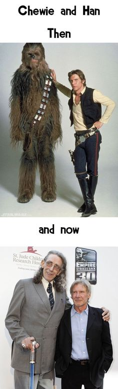 Chewbacca & Han Solo. In the bottom pic, Peter Mayhew's walking cane is a lightsaber! Win.: