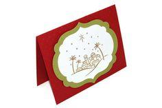 Stamped Christmas Card - CHRISTIAN CHRISTMAS Card - Handmade Card - Gold Embossed RELIGIOUS Christmas - O Little Town of Bethlehem Luke 2:11...