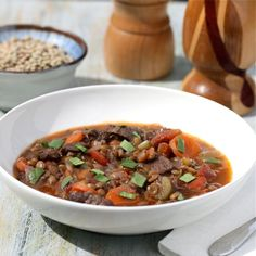 Beef and Lentil Stew.  I'm sick today, so all I feel like eating is comfort food and soup.