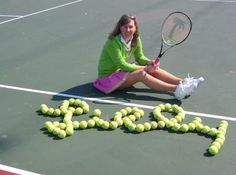 love the pink and green tennis outfit!