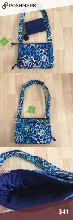 """Vera Bradley Little Hipster Katalina Blues Purse This adorable small purse with built in wallet is perfect for the girl on the go and wants to be hands free. Converts from a shoulder bag to a crossbody by adjusting the straps. For a little Purse it's very roomy. You won't need a wallet as the front zippered pocket has a paper money slot and 4 credit card slots. Main compartment has a zippered pocket on the inside. Back of the purse has a slip pocket with hidden magnet closure. Measures: 9.5""""…"""