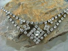 Vintage Silver  and Rhinestone Necklace Costume by vintagemarbles, $35.00