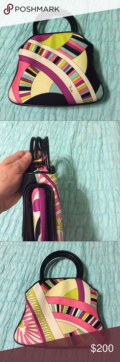 ❤️💋SALE! EMILIO PUCCI vintage silk &leather purse Cute silk vintage pucci purse in excellent vintage condition no marks tears smells or runs in the silk or tears or worn out leather! Has signature Emilio on front of purse&closes with a drawstring closure perfect for a night out. Authentic I have kept this in a dust bag& it was does not show any signs of use. Impeccable conditionAsk any questions! Would fit an iPhone&credit cards wallet! Classic pucci one you won't find anywhere! Two day…