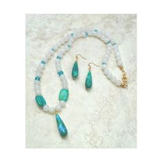 White Agate and Blue Milk Jade Jewelry Set, White and Blue Green... ($30) ❤ liked on Polyvore featuring jewelry, green jewelry sets, green jade jewelry, set jewelry, blue green jewelry and green jewelry