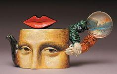 Mona Lisa teapot - by Noi Volkov. Pottery Teapots, Ceramic Teapots, Ceramic Pottery, Pop Art, Mona Lisa, Cute Teapot, Teapots Unique, Teapots And Cups, Contemporary Ceramics
