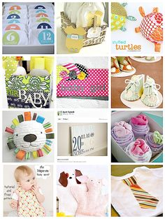 DIY baby shower gifts  ■Monthly Onesies  ■Baby To Go Bags    ■Stuffed Turtle Baby Toys   ■Baby Shower Tote   ■Matching Receiving Blankets and Hats   ■Handmade Booties   ■Baby Plushie Toy   ■Baby Subway Art   ■Onesie Cupcakes    ■Baby Bib/Apron   ■Washcloth Puppets   ■Tie Shirt