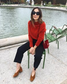 red sweater + ankle pants + cognac pumps + sunnies.