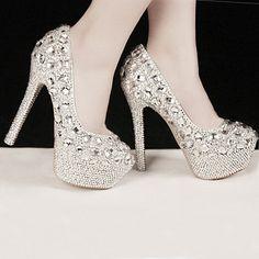 0c8e845244fd9e Womens Silver Rhinestone High Stilettos Heels Spring Wedding Prom Dress  Party… Crystal Shoes