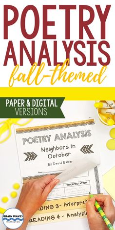 Celebrate the autumn season with five autumn poem studies in this hands-on and engaging 5-day poetry analysis unit. Each fall poem study includes a 5-page interactive flip book that helps students deeply understand the poem. As students progress through the analysis tasks on each page of their flip books they not only dive deeper into the text, but they also develop an appreciation for closely reading poetry. Middle School Literature, Middle School Ela, Middle School Teachers, Autumn Poem, Poem Analysis, Poetry Unit, Flip Books, Brain Waves, School Resources