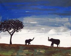 Elephant mother and baby landscape painting, great for any child and mother for Mothers Day
