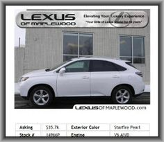 2011 Lexus RX 350 Base SUV  Variable Intermittent Front Wipers, Overall Length: 187.8, Audio Controls On Steering Wheel, Tilt And Telescopic Steering Wheel, Rear Seats Center Armrest, Turn Signal In Mirrors, Transmission Hill Holder, Tires: Prefix: P, Compass, Max Cargo Capacity: 80 Cu.Ft., Front Ventilated Disc Brakes, Cloth Seat Upholstery, Tires: Speed Rating: V, Leather Steering Wheel Trim, Daytime Running Lights, Concealed Antenna, Genuine Wood Door Trim, Tires: