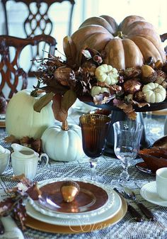 Thanksgiving Table Details beautiful table and love the colors Thanksgiving Tablescapes, Holiday Tables, Thanksgiving Decorations, Christmas Tables, Happy Thanksgiving, Happy Fall, Beautiful Table Settings, Autumn Decorating, Decorating Ideas