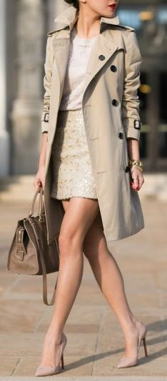 trench + sequin mini