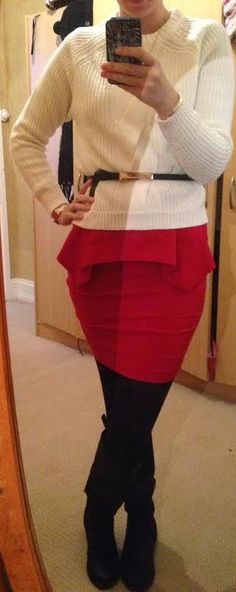 The Girl With Nothing to Wear: White jumper, red skirt, work style, fall winter style