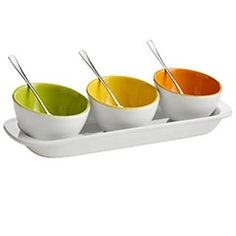 Perfect colors we're looking for, but not necessarily an item we're looking for.  Mini Colorful Bowls with Tray at Pier1