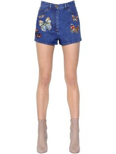 VALENTINO Butterfly Embroidered Denim Shorts, Blue/Multi. #valentino #cloth #shorts