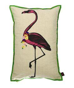 Multi-coloured flamingo linen cushion Sale - Bombay Duck Sale