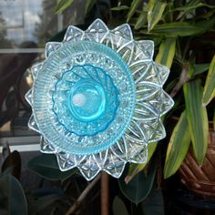 Blue Depression Glass Repurpose Plate Flower by ARTfulSalvage, $42.00