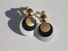 Mod Go Go White Black Gold Earrings by Napier Screwbacks. Sold for $ 16.50, via Etsy.