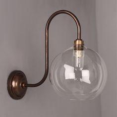 Lenham Swan Neck Bathroom Wall Light with Clear Glass Globe